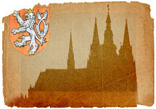 Château de Prague dans le type grunge Photographie stock libre de droits