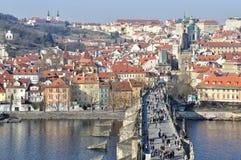 Château de Prague et passerelle de Charles Photo libre de droits