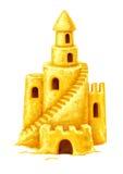 Château de sable avec des fenêtres et des escaliers de tours photographie stock libre de droits