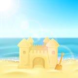 Château de sable sur la plage illustration stock