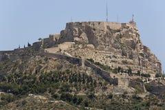 Château de Santa Barbara dans la ville d'Alicante, Espagne images libres de droits