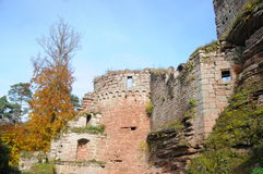 Château De Schoeneck. This beautiful castle ruin in the Alsace region of France is open to the public and can get visited. It belongs to the village of Stock Photos