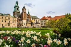 Château de Wawel pendant le printemps - Cracovie, Pologne photos libres de droits