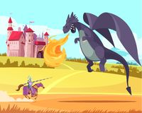 Château Dragon Cartoon Illustration illustration libre de droits