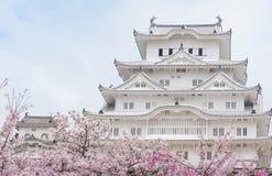 Château du Japon Himeji, château blanc de héron dans le beau che de Sakura Photos libres de droits