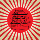 Château du Japon Osaka sur le drapeau du soleil Image stock