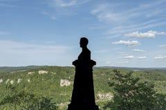 Château du Lichtenstein - buste et statue en parc image stock