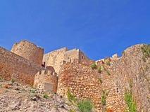 Château en pierre médiéval sur l'Espagne images stock