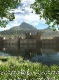 Château enchanteur par une rivière Photos libres de droits