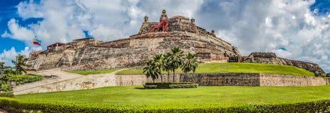 Château enrichi de San Felipe dans la ville de Carthagène de india Images libres de droits
