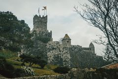 Château et mur de Baiona, Galicie Espagne photographie stock
