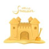 Château et pelle de sable illustration de vecteur