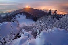 Château Hohenzollern dans l'hiver Photo stock