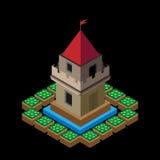Château isométrique de vecteur sur un fond noir Images libres de droits