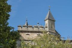 Château Lichtenstein - bâtiment auxiliaire avec la tour photo stock