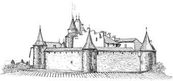 Château médiéval Aigle en Suisse Photographie stock libre de droits