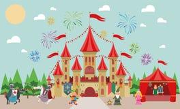 Château médiéval avec des caractères (roi, princesse, magicien, chevaliers et farceur) et des feux d'artifice illustration libre de droits