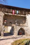 Château médiéval avec la statue et les fanions Image stock