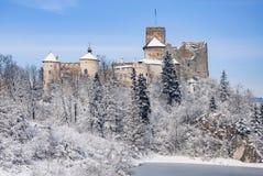 Château médiéval dans Niedzica, Pologne, en hiver Image stock