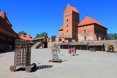 Château médiéval sur l'île de Trakai, Lithuanie Image stock