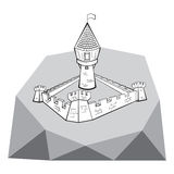 Château médiéval sur la montagne Photographie stock libre de droits