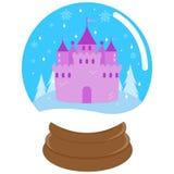 Château mignon de conte de fées à l'intérieur d'un globe de neige illustration de vecteur