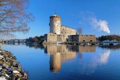 Château Olavinlinna dans Savonlinna, Finlande Photographie stock libre de droits