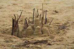 Château partiel de sable de forteresse Image stock