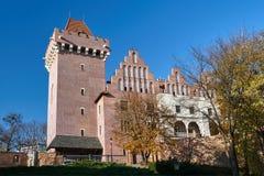 Château royal reconstruit par tour en automne photo libre de droits