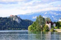 Château saigné au lac slovenia Photographie stock libre de droits