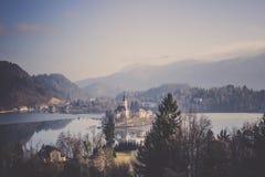 Château saigné sur la petite île entourée par la forêt de collines de lac image stock