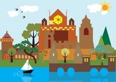 Château sur le lac Images libres de droits