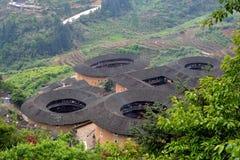 Château traditionnel chinois de la terre dans la campagne du sud de la Chine Image libre de droits