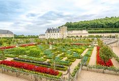 Château Villandry avec le jardin coloré Photographie stock
