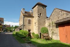 Street of Châteauneuf en Auxois Stock Photos