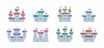 Châteaux colorés et icônes de forteresses réglées Image libre de droits