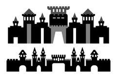 Châteaux de silhouette de vecteur sans fond Images stock