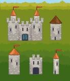 Châteaux et icônes de vecteur de forteresses Photos stock