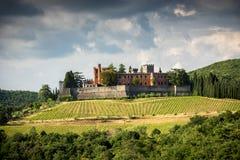 Châteaux et vignobles de la Toscane, région de vin de chianti de l'Italie images libres de droits
