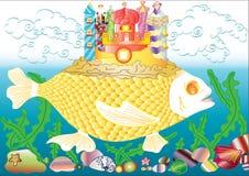 Châteaux sur les poissons Image stock