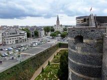 Château d ` Angers是一座城堡在市Angers在卢瓦尔河流域,在法国 库存图片