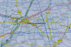 Châteauroux на карте Стоковая Фотография