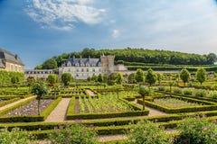 Château de Villandry, Francia Edificios del castillo y del jardín ornamental Foto de archivo libre de regalías