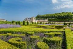 Château de Villandry, Francia Lavanda y arbustos arreglados en jardín decorativo Fotografía de archivo