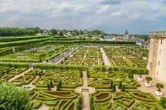 Château de Villandry, Francia Torre del homenaje y jardines Foto de archivo