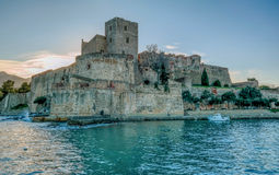 Château kungliga de Collioure Royaltyfria Bilder