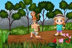 Chłopiec badacz z dziewczyną w lesie ilustracji