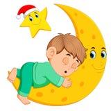 Chłopiec sen na księżyc ilustracja wektor