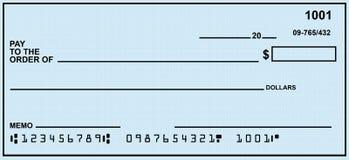 Chèque à ordre vide Images libres de droits