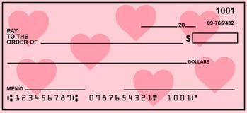 Chèque à ordre vide avec des coeurs Photographie stock